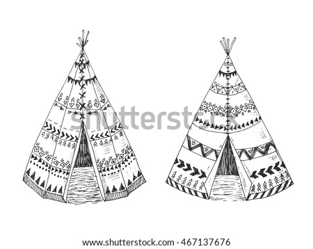 Illustration of the North American Indian tipi home with tribal ornament hand drawn with ink. Front view. Authentic tepee wigwam perfect for card making or wedding ivitation.