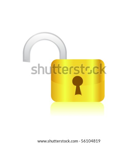 Illustration of the Open lock. Vector