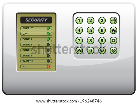Illustration of the panel of the security system on a white background - stock vector