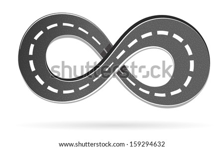 Illustration of the road in the shape of an infinity sign - stock vector