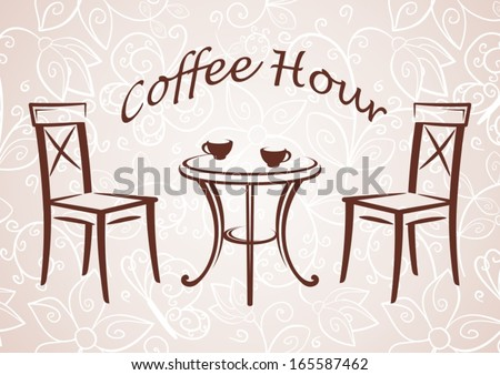 Illustration of the round table and chairs. - stock vector
