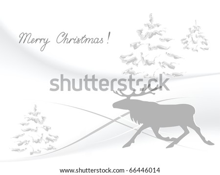 Illustration of the running reindeer against the winter background - stock vector