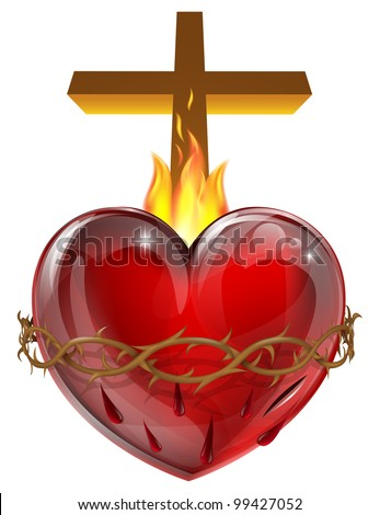 Illustration of the Sacred Heart, representing Jesus Christ's divine love for humanity. - stock vector