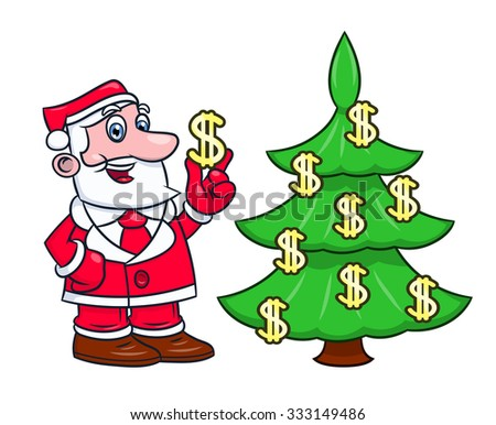 Illustration of the Santa Claus decorating Christmas tree with dollar signs on white background - stock vector