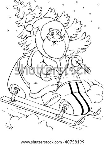 Illustration of the Santa Claus in a scooter