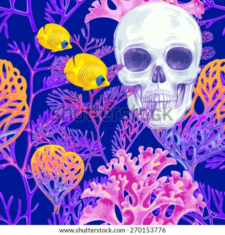 Illustration of the seabed with a skull, exotic fish and corals. Vector. Seamless background for textile, fabric, paper, wallpaper. - stock vector