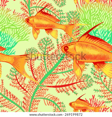 Illustration of the seabed with exotic fish and corals. Vector seamless background.