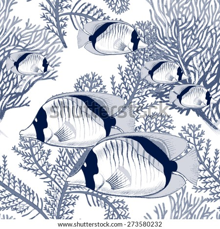 Illustration of the seabed with exotic fish and corals. Vector. Seamless background for textile, fabric, paper, wallpaper. Black and white.