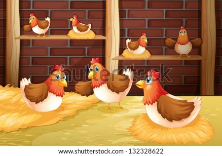 Illustration of the seven hens - stock vector