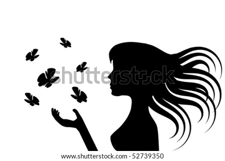 Illustration of the silhouette of a girl with a group of butterflies