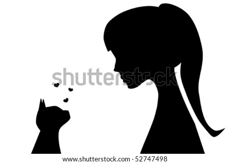 Illustration of the silhouettes of a girl and a cat watching each other