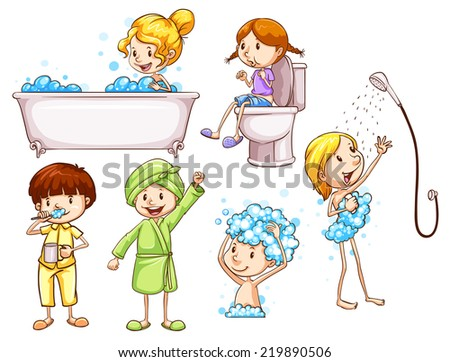 Illustration of the simple coloured sketches of people taking a bath on a white background  - stock vector