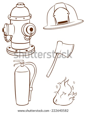 Illustration of the simple sketches of the things used by a fireman on a white background   - stock vector