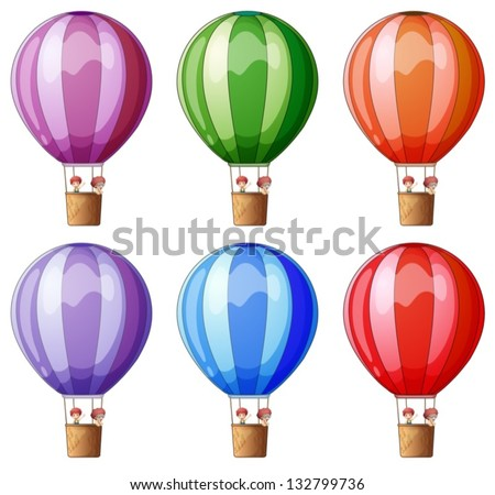 Illustration of the six colorful hot air balloons on a white background - stock vector
