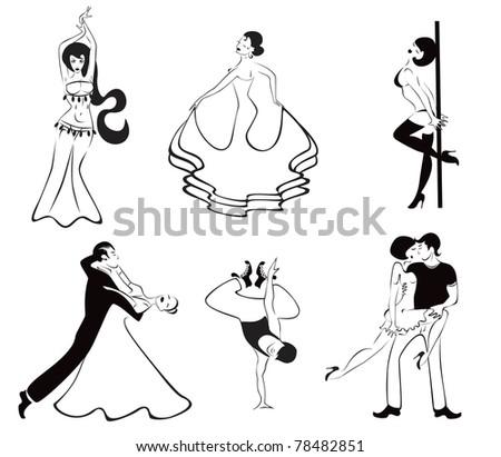 Illustration of the six major dance styles: ballroom dance, hip hop, rumba, belly dancing, flamenco, erotic dance - stock vector