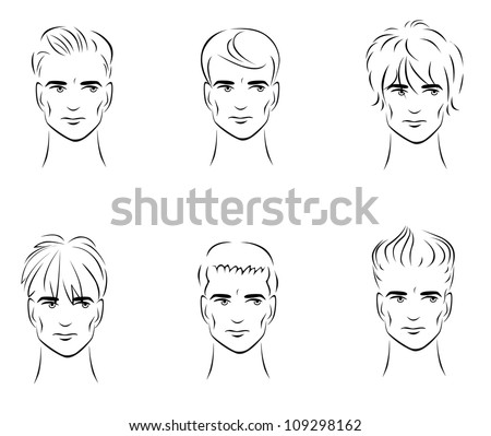 Illustration of the six options for men's hairstyles from the front. - stock vector