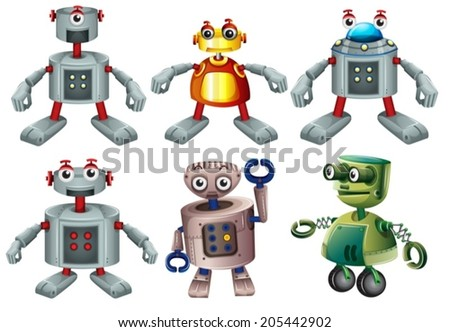 Illustration of the six robots on a white background - stock vector
