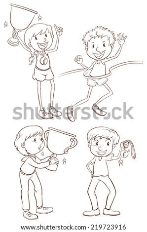 Illustration of the sketches of the different winners on a white background  - stock vector