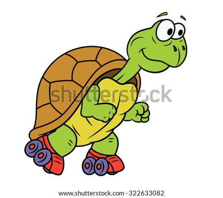Illustration of the smiling funny turtle on roller skates - stock vector