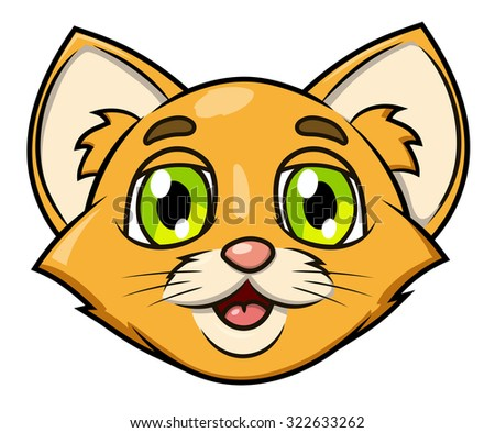 Illustration of the smiling happy cute little kitten head - stock vector