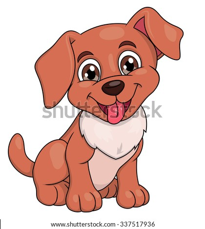 Illustration of the smiling happy cute little puppy - stock vector