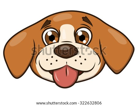 Illustration of the smiling happy cute little puppy head - stock vector