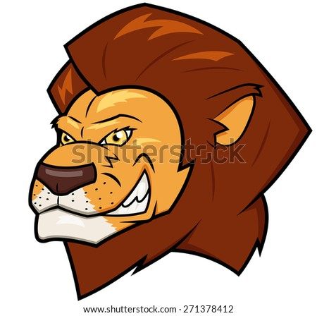 Illustration of the smiling lion head - stock vector