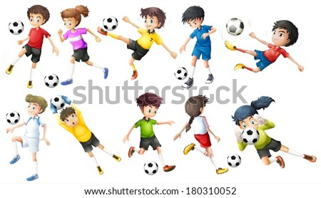 Illustration of the soccer players on a white background - stock vector