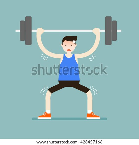 Illustration of the sport man try to carry the barbell. Vector illustration flat style. - stock vector