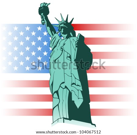 Illustration of the Statue of Liberty United States flag on the background - stock vector