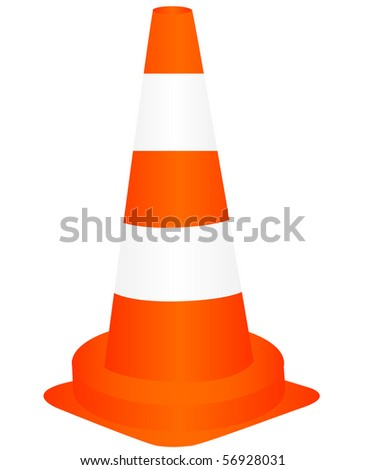 Illustration of the striped road sign over white background - stock vector