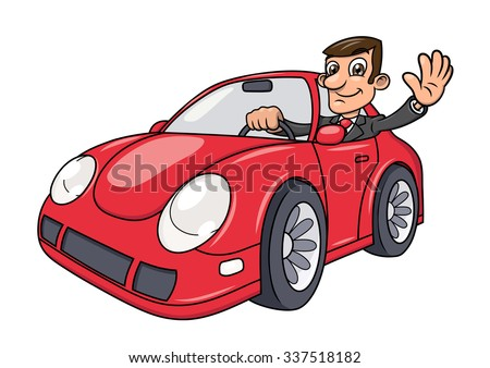 Illustration of the successful businessman driving a modern red car and waving hand  - stock vector