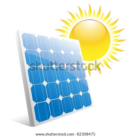 Illustration of the sun and solar panels. Vector. - stock vector