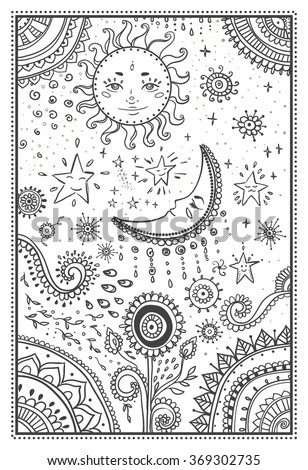 Illustration Sun Moon Stars Ornamental Mandala Stock Vector ...