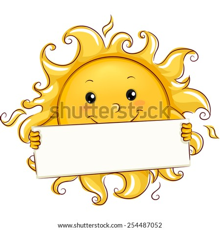 Illustration of the Sun Holding a Blank Banner - stock vector