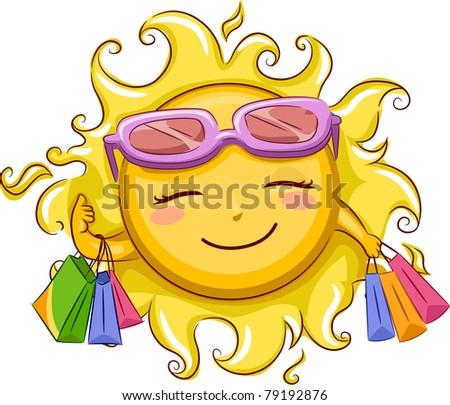 Illustration of the Sun Shopping - stock vector