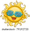 Illustration of the Sun Wearing Sunglasses - stock vector