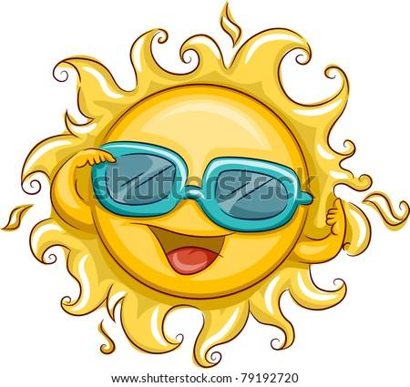 Illustration of the Sun Wearing Sunglasses - stock vector