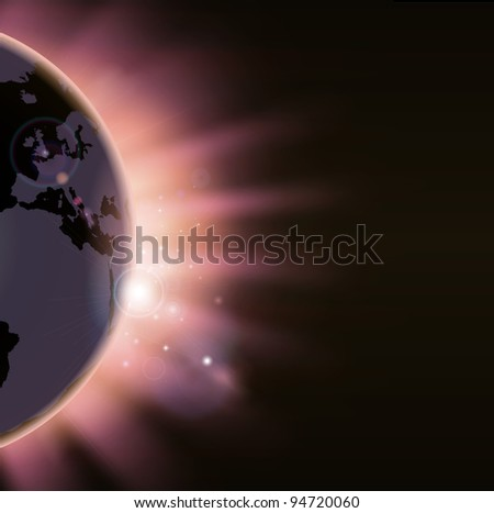 Illustration of the suns rays bursting over the world globe. Europe side visible - stock vector