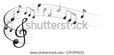 Illustration of the symbols of music on a white background - stock vector
