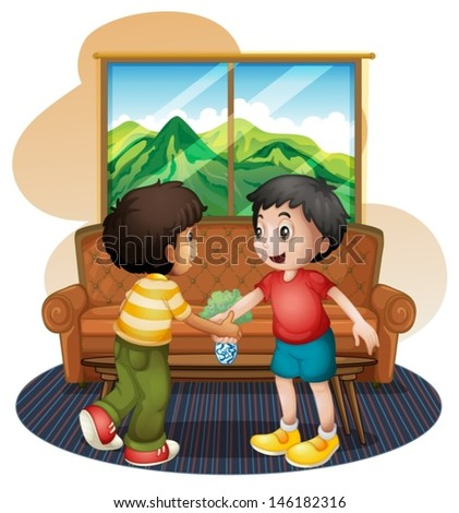 Illustration of the two boys shaking hands near the sofa on a white bakground  - stock vector