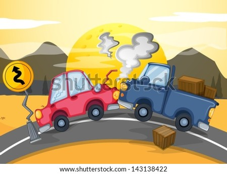 Illustration of the two cars bumping in the middle of the road - stock vector