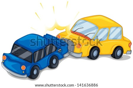 Illustration of the two cars bumping on a white background - stock vector