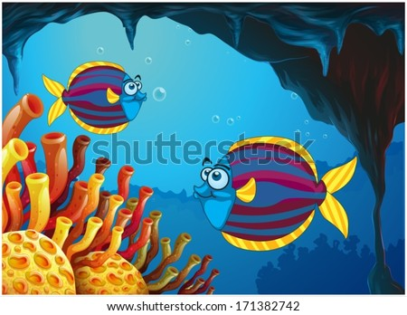 Illustration of the two colorful fishes inside the cave under the sea on a white background - stock vector