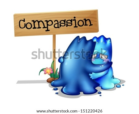 Illustration of the two compassionate monsters on a white background - stock vector