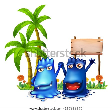 Illustration of the two happy blue monsters in front of the wooden signage near the palm trees on a white background