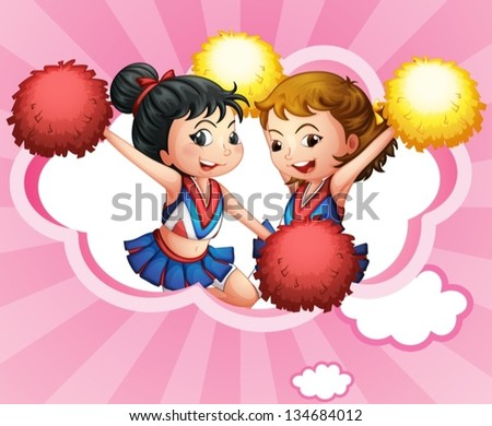 Illustration of the two young and energetic cheerdancers - stock vector