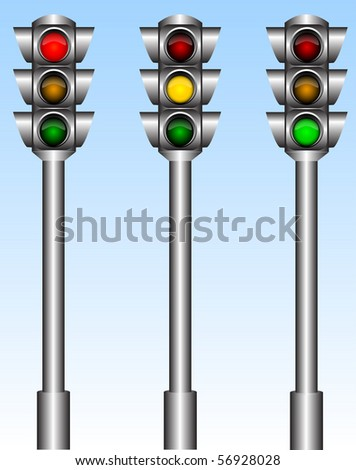 Illustration of the urban traffic lights with different lights - stock vector