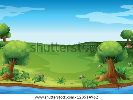 Illustration of the view of the hills - stock vector