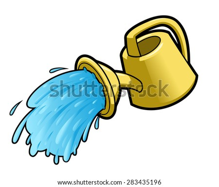 Illustration of the yellow watering can pouring water - stock vector